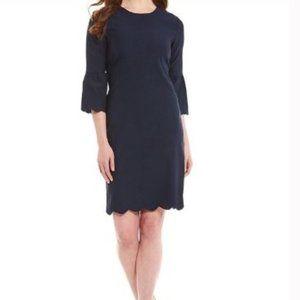J. McLaughlin Elle Scalloped Dress Navy Blue